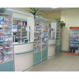 Мебель для аптеки  стекло, подсветка на витринах и кассовых секциях МТД-35