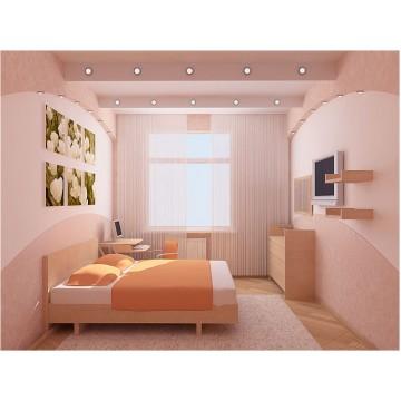 Небольшая светлая спальня МДС-54 Кровати, шкафы и комоды на заказ для дома и квартиры