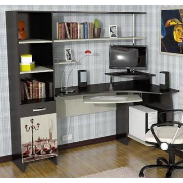 Компьютерный угловой столик МДКс-53 Стол компьютерный с пеналом и полками в Киеве