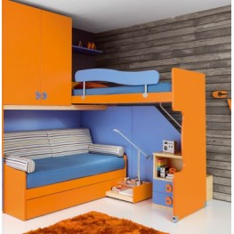 Детский двухэтажный уголок с кроватью на втором этаже МДД-62 Кровати шкафчики и ящички изготовим для детских комнат на заказ в Киеве